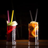 Cherry bomb and cuba libre cocktails in a tall glasses — Stock Photo