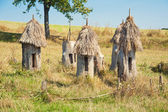 Ancient apiary with wooden bee hives — Stock Photo