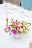 Table set for an event party or wedding reception with candle an — Stock Photo