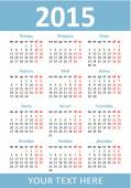 Vertical pocket calendar 2015. Vector. Russian language — Διανυσματικό Αρχείο