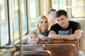 Family in a public transport — Stock Photo