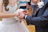 Groom putting ring on bride's finger — Stock Photo