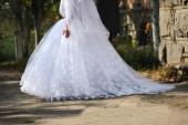 Train of a wedding dress — Stock Photo