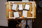 Retro decorated board with blank cards — Foto de Stock
