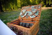 Picnic set in wicker basket — Stock Photo