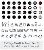 WebEmoticon - Smiley - Icon Set, Cute, simple and Hand Drawn Line Art — Vetorial Stock