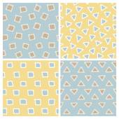 Cute Hand Drawn Seamless Patterns Set: squares and triangles — Stockvector