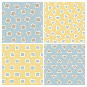 Cute Hand Drawn Seamless Patterns Set: squares and triangles — ストックベクタ