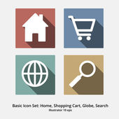Basic Icon Set: Home, shopping Cart, Globe, Search, Flat Design — Vecteur