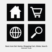 Basic Icon Set: Home, shopping Cart, Globe, Search — Stock Vector