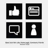 Basic Icon Set: Like, Home Page, Comment, Friends — Stock Vector