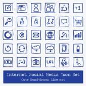 Internet Sosyal Medya - Icon Set - elle çizilmiş — Stok Vektör