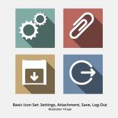 Basic Icon Set: Settings, Attachment, Save, Log-Out — Stock Vector