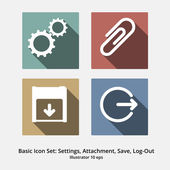 Basic Icon Set: Settings, Attachment, Save, Log-Out — Stockvektor
