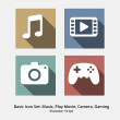 Basic Icon Set: Music, Play Movie, Camera, Gaming — Stock Vector #59631493