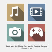 Basic Icon Set: Music, Play Movie, Camera, Gaming — Stock Vector