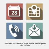 Basic Icon Set: Calendar, Maps, Phone, Incoming Mail — Stock Vector