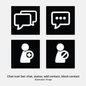 Basic Chat Icon Set: Chat, Status, Add Contact, Block Contact — Stock Vector
