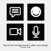 Basic Chat Icon Set: Message, Emoticon, Video Chat, Voice Message — Stock Vector