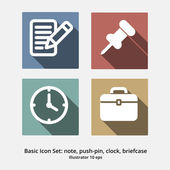 Basic Icon Set: Note, Push Pin, Clock, Briefcase — Stock Vector