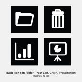 Basic Office Icon Set: Folder, Trash Can, Graph, Presentation — Stock Vector