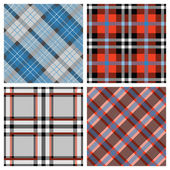 Set of Seamless Tartan & Checkered Plaid Pattern — Stock Vector