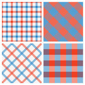 Set of Seamless Tartan & Checkered Plaid Patterns, Red, White an — Stock Vector
