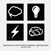 Inspiration Icon Set: Thinking, Lightbulb, Lightning, Brain — Stock Vector