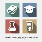 Education Icon Set: Books, Mortar, Science, Degree. Modern Flat  — Stock Vector