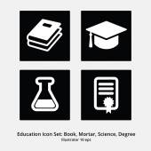 Education Icon Set: Books, Mortar, Science, Degree — Stock Vector