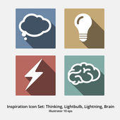 Inspiration Icon Set: Thinking, Lightbulb, Lightning, Brain. Mod — Stock Vector