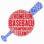 Word Cloud - Baseball Championship, Ball and Bat — Stock Vector