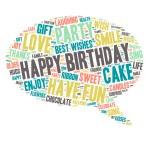 Word Cloud - Happy Birthday Celebration - Speech Bubble — Stock Vector #70186617