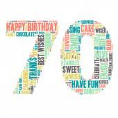 Word Cloud - Happy Birthday Celebration - Seventy — Stock Vector