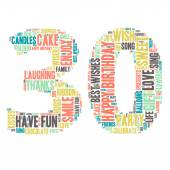 Word Cloud - Happy Birthday Celebration - 30 — Stock Vector