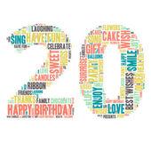 Word Cloud - Happy Birthday Celebration - Twenty — Stock Vector