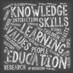 Education Word Clouds - Chalk on Blackboard — Stock Vector #71204715