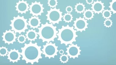 Simple Minimalistic Cog wheel Background Animation Loop. Gears on Blue background, representing teamwork — Stock Video