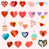 Set of twenty four hearts — Stock Vector