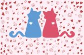 Couple of cats on Valentine's Day — Stock vektor