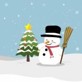 雪だるまのクリスマス ツリー — ストックベクタ