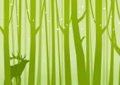 Deer in Forest Green — Stock Vector