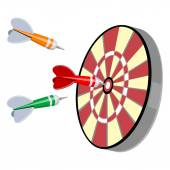 Darts and target — Stock Vector