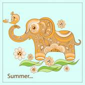 Elephant and birdie on a card — Vector de stock
