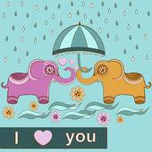 Card love elephants — Stock Vector