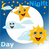 Children's card day night — Stock Vector