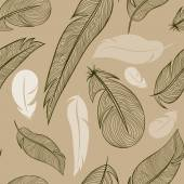 Seamless pattern from feather of a bird — Vector de stock