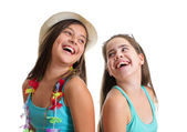 Two best friend girls having fun — Stok fotoğraf