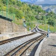 Rack railway railroad tracks in Vall de Nuria, Spain — Stock Photo #56494527