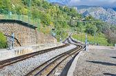 Rack railway railroad tracks in Vall de Nuria, Spain — Stock Photo